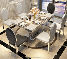 Modern long rose gold metal 6 seater chair marble dinning table set for 4 legs malaysia