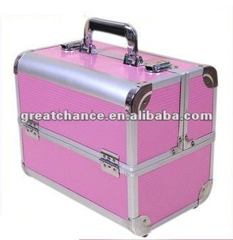 Professional Round Pink Beauty Box Aluminium Beauty Cosmetics & Make Up Case