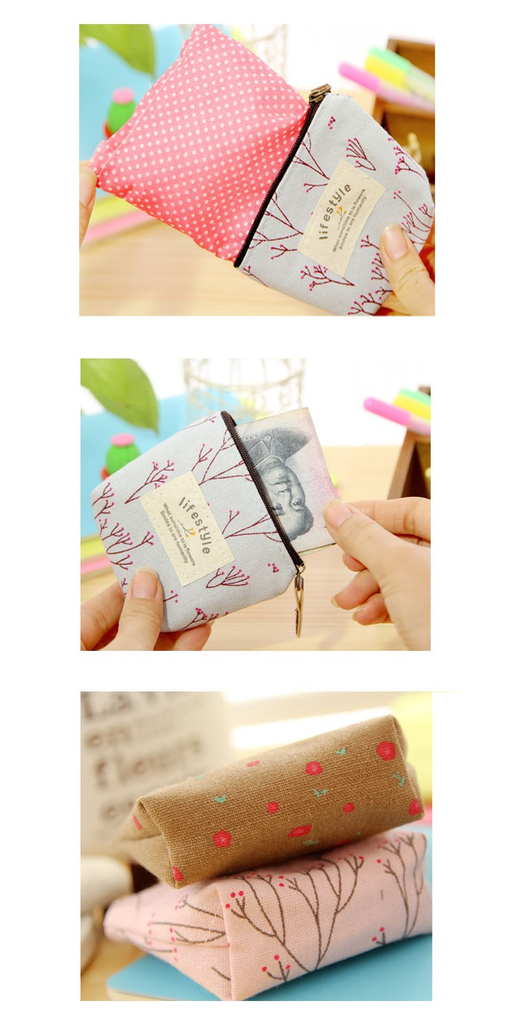 2017 Promotional Canvas/linen Cute Ladies Coin Wallet
