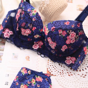 High quality floral printing seamless girls young women sexy panty bra sets