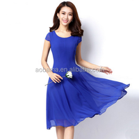 Ladies chiffon O-Neck A-Line Knee Length casual Dress
