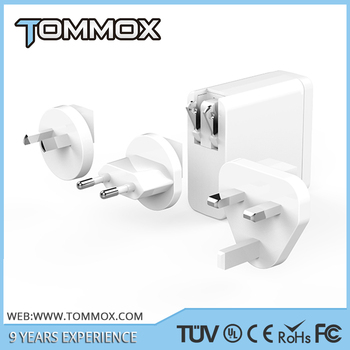 Tommox Wholesale Cheap Price White Color 5V 8A 4 USB Travel Adapter With Replaceable Plugs