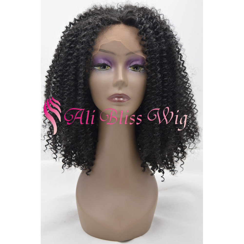 Free shipping Natural looking synthetic and human hair mix kinky curly full lace wig 16 inch for black middle age women