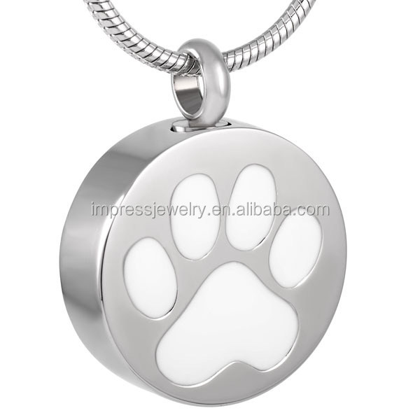 IJD8088 Paw printed round cremation pendant pet memorial urn jewelry funeral keepsake