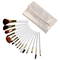 Wholesale 15pc professional white makeup brush set with pu case