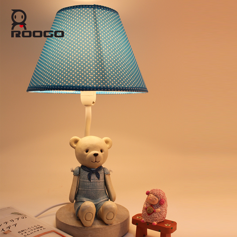 ROOGO fashion resin cartoon blue bear bedside reading lamps for home decor