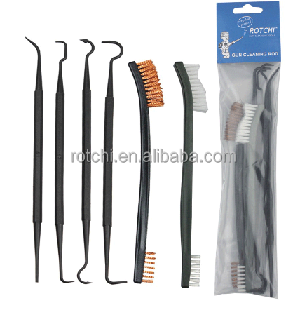 6PCS gun cleaning kit,cleaning brush,cleaning hooks