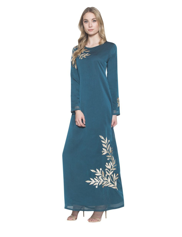 Latest design fashion women clothes chiffon long sleeve golden floral printed muslim dress