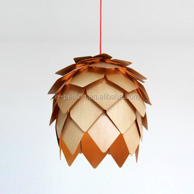 Modern Handmade OAK Wooden Pinecone Lights Hanging Pine Cone Wood Pendant lamp