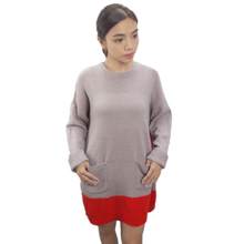 2017 autumn and spring new women casual red backside long sweater knitted sweater bottoming dress with pocket
