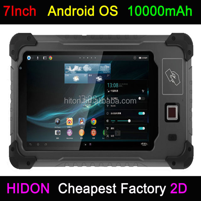 Rugged Android Biometric fingerprint <strong>Tablet</strong> with WIFI Bluetooth QR code reader USB 2d barcode scanner long range uhf RFID reader