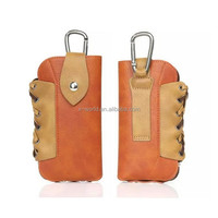 Shockproof pu leather slim universal travel phone bag with carabiner for samsung/ iphone/ HTC
