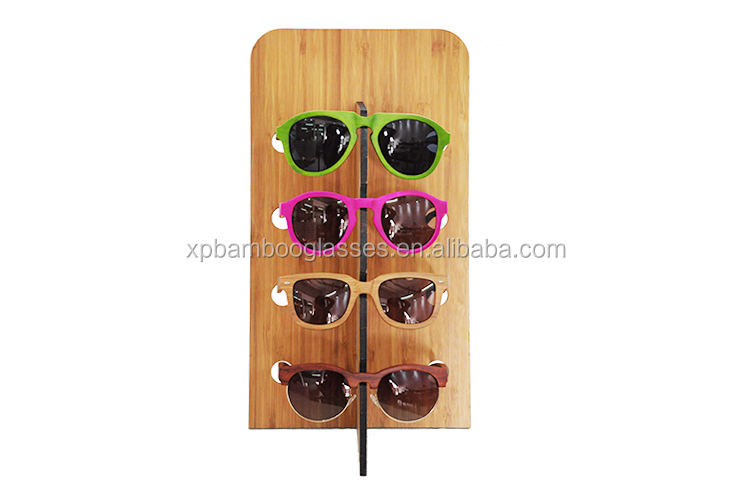 eco friendly custom logo bamboo wooden sunglasses display stand