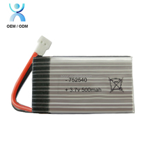 Customized 752540 RC lithium polymer battery 752540 3.7v 500mah batteries for