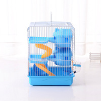 Wholesale Top Quality Foldable Three Layers Hamster Cage with Pot and Wheel Coffee