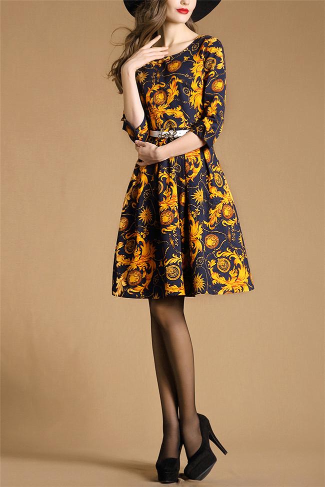 2016 damen smart casual kleid langarm casual kleid vintage gedruckt kleidung kleid designs z047. Black Bedroom Furniture Sets. Home Design Ideas