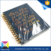Fashion high quality bule cardboard cover recycled paper golden spiral notebook for office