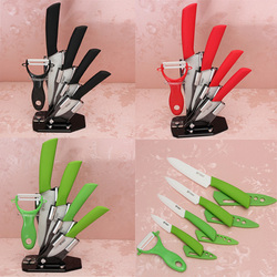New Arrival 3 Colours Kitchen Dining Bar 3 4 5 6 inch Ceramic Knife + Peeler With Covers Paring Fruit Utility Chef Knife Sets