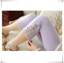 2015 New Fashion Summer Spring Women Leggings Girl Cotton Leggings Elastic Triangle Lace Pants Cropped Trousers Leggings C67