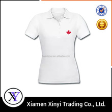 OEM embroidered white women polo t shirt
