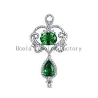 2014 New Design High Quality Cheap 925 sterling silver indian green emerald nitial charm necklace