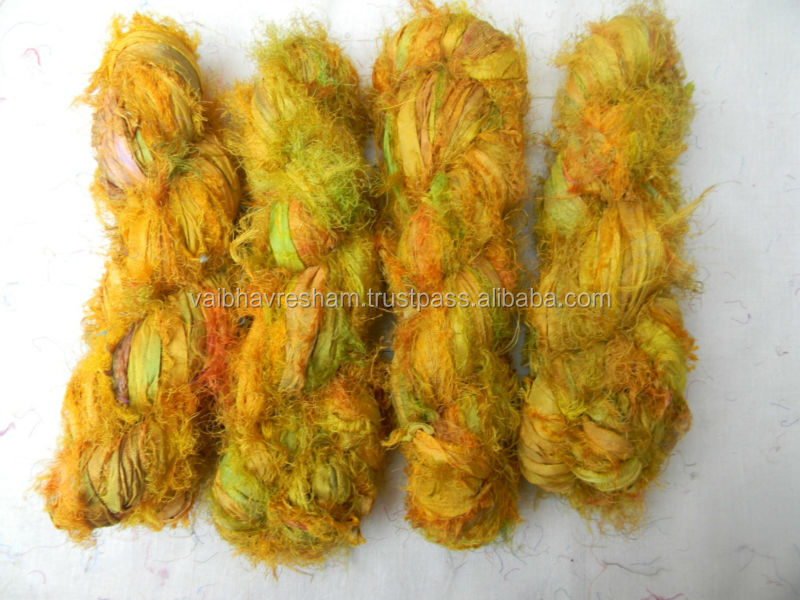 Recycled Sari Silk Mix Yellow Fuzzy Ribbon For Knitting & Craft Work