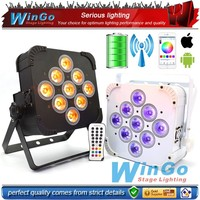 RGBAW UV 6 in 1 9pcs 12W remote controlled battery operated led strip par light