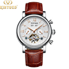 Silver case white dial with brown leather strap