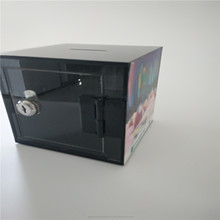 Factory made donation acrylic donation box ideas box with lock and chain acrylic