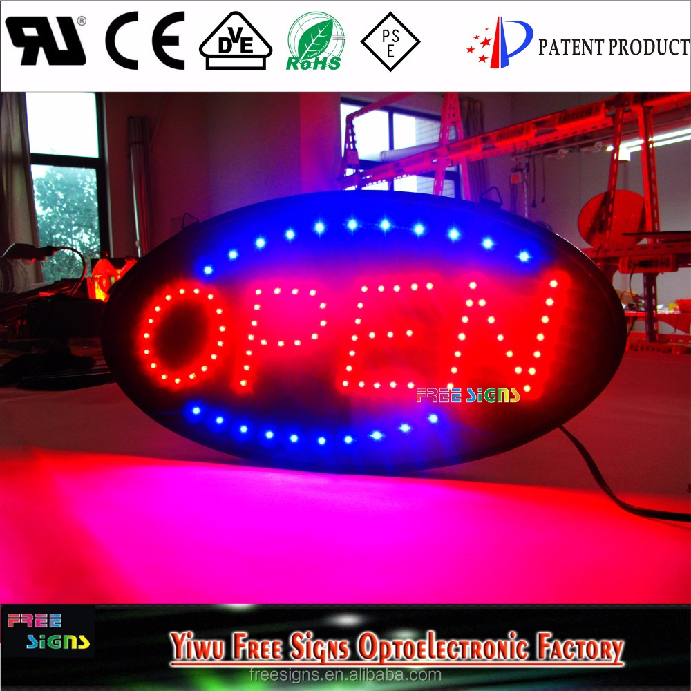Ultra Bright 19''x10'' LED Neon Light Animated Indoor oval led open <strong>sign</strong> for all stores