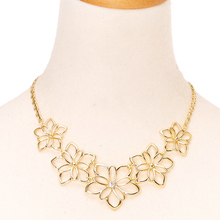 Customized Fashion Gold Plated Flower Statement Necklace Jewelry For Girls