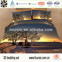 2014 3D dark scenery bedding set, wholesale 4pcs bed set,100% cotton printed reactive