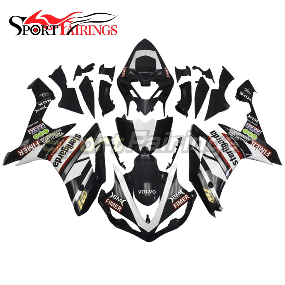 Injection <strong>Fairings</strong> For Yamaha YZF <strong>R1</strong> 07 <strong>08</strong> ABS Plastic Injection Motorcycle Kit Fimer Sterilgarda Black White <strong>Fairing</strong> kit