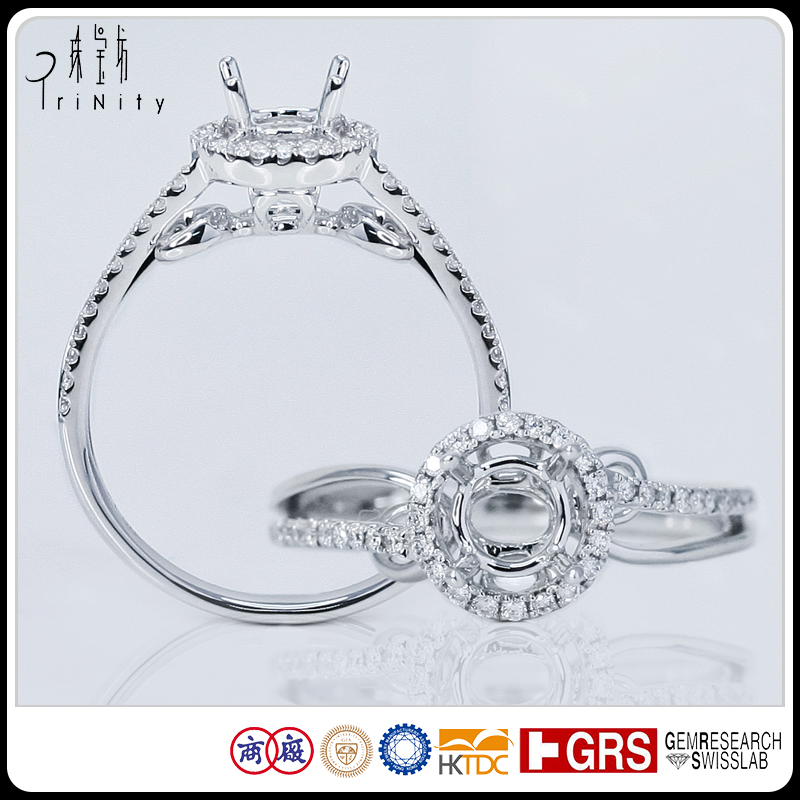 China Factory Make Branded 14K White Gold Halo Setting White 0.50 Carat Diamond Annivery Semi Setting Ring Mounting