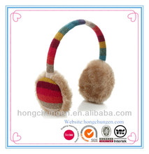 HOT SELL colorful knitted outside with plush inside winter ear muff