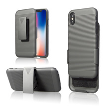 High quality stripe pattern holster combo case with built in kickstand and swivel belt clip holster for iPhone X