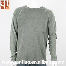 New spring 12g men round collar long sleeve jumper ramie/cotton thin plain handmadking knit sweater from china quality factory