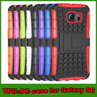 Combo Case For S6, Shockproof Hybrid Armor Kickstand Case For Samsung Galaxy S6