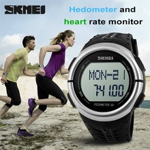SKMEI 1058 New arrival blood pressure Heart Rate Monitor Pedometer Watch
