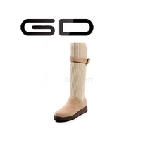 GD new flat wool knit and leather knee-high boots for women