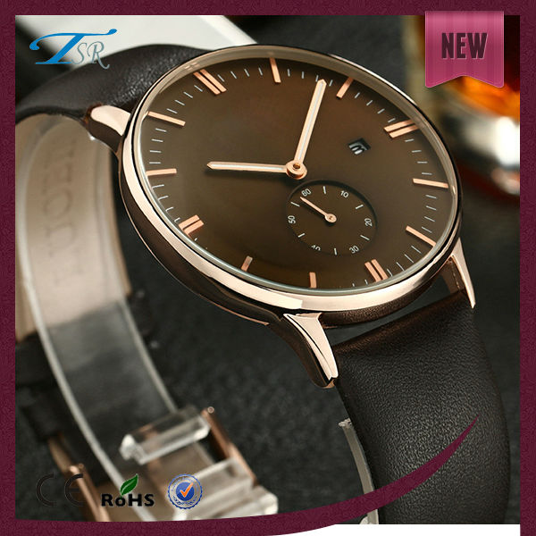 high quality genuine leather quartz japan mov't stainless steel watch