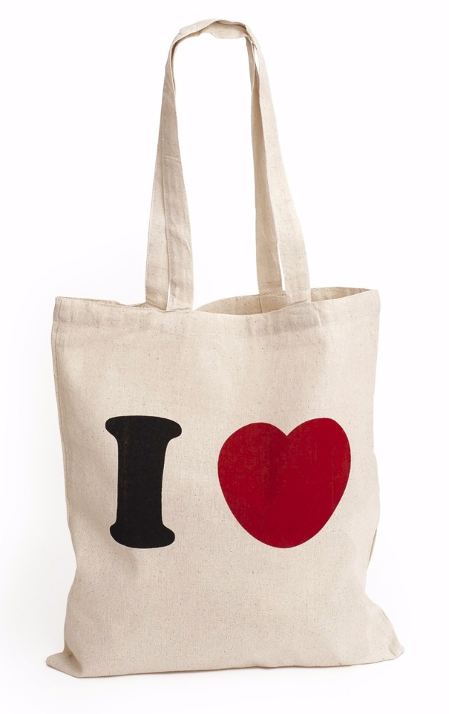 Quality Both Promotional Sides Logo Printed Natural Color 100% Cotton Canvas Tote Bag