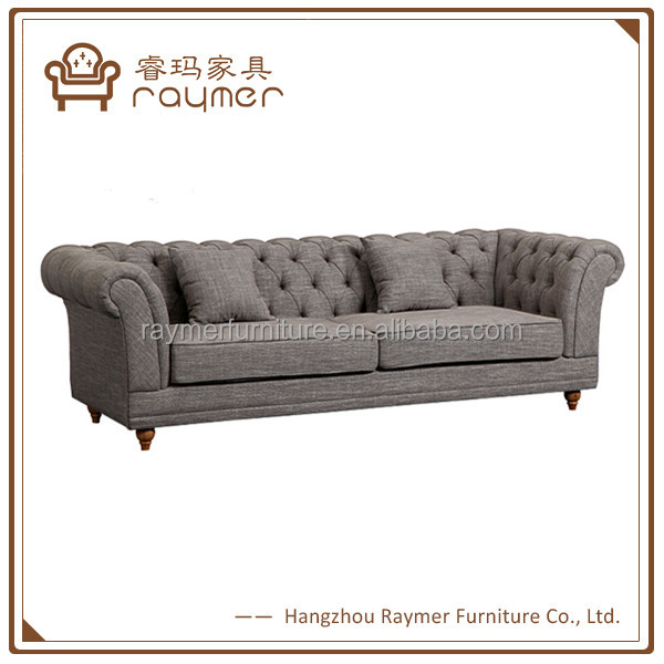 Grey linen fabric upholstered chesterfield sofa/french three seater fabric sofa
