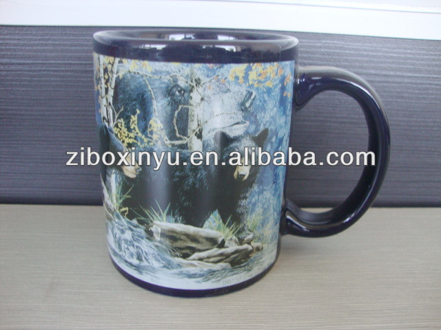 12 oz black ceramic coffee mug for promotion with spoon