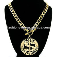 Gold Honeys Get The Money Statement Link Necklace Urban Style Fashion Chain Sexy