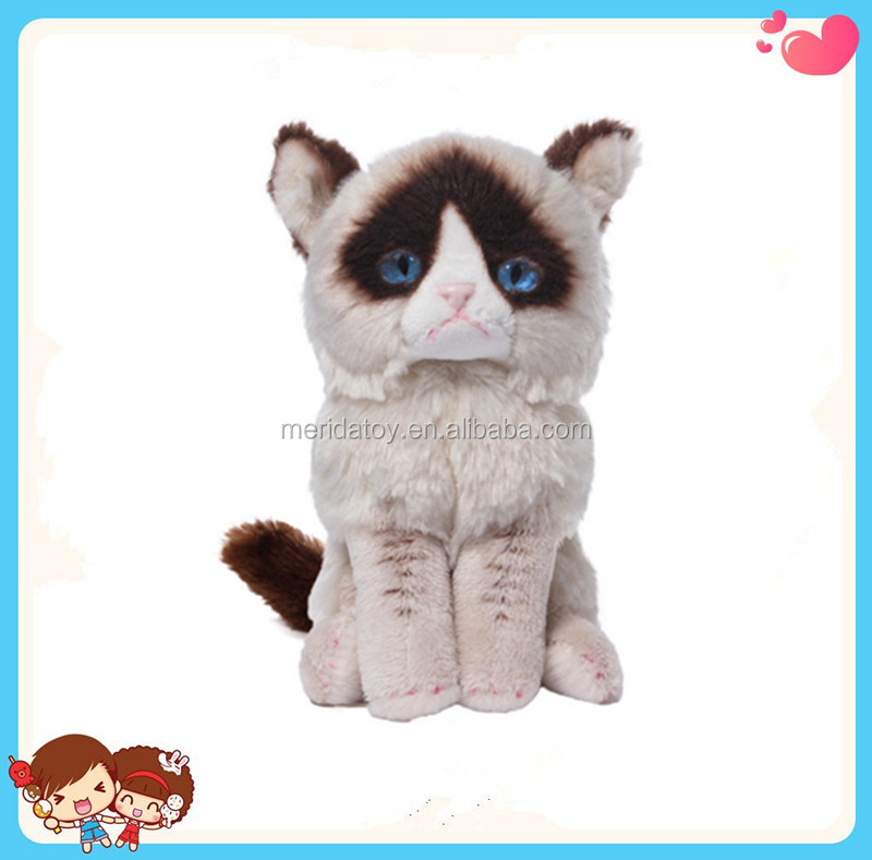 2016 Hot sale custom angry blue eyes cat stuffed plush toy Grumpy Cat for kids