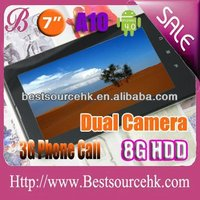 A10 mid tablet pc with 3G phone call compatible 2G GSM 1G/8G