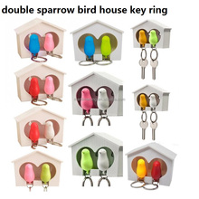 double whistle sparrow key ring with key holder organizer bird house