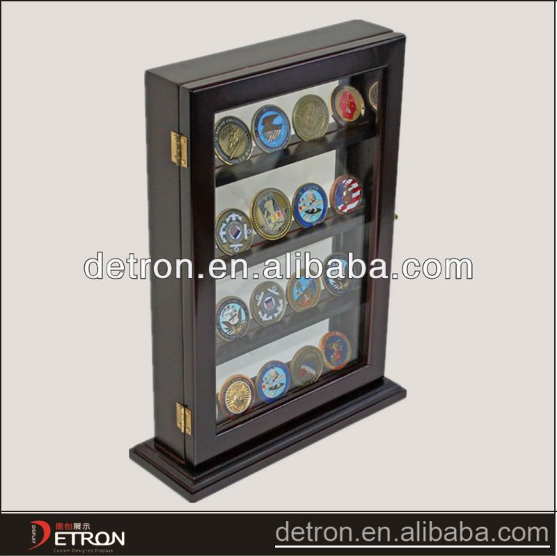 Luxury challenge coin display stand with wooden BW-1183