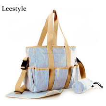 Blue Stripes Print Canvas Baby Diaper Nappy Bag for Mom Stripes Mom Bag Set
